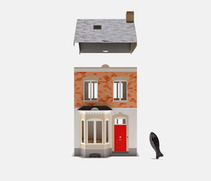 row house & fish figure