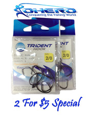 3 PACKS OHERO TRIDENT IN-LINE CIRCLE HOOKS WIDER GAP--CHOOSE SIZE