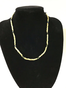 1 Opalescent + 2 Gold Flat Tulasi Neckbeads - One Round