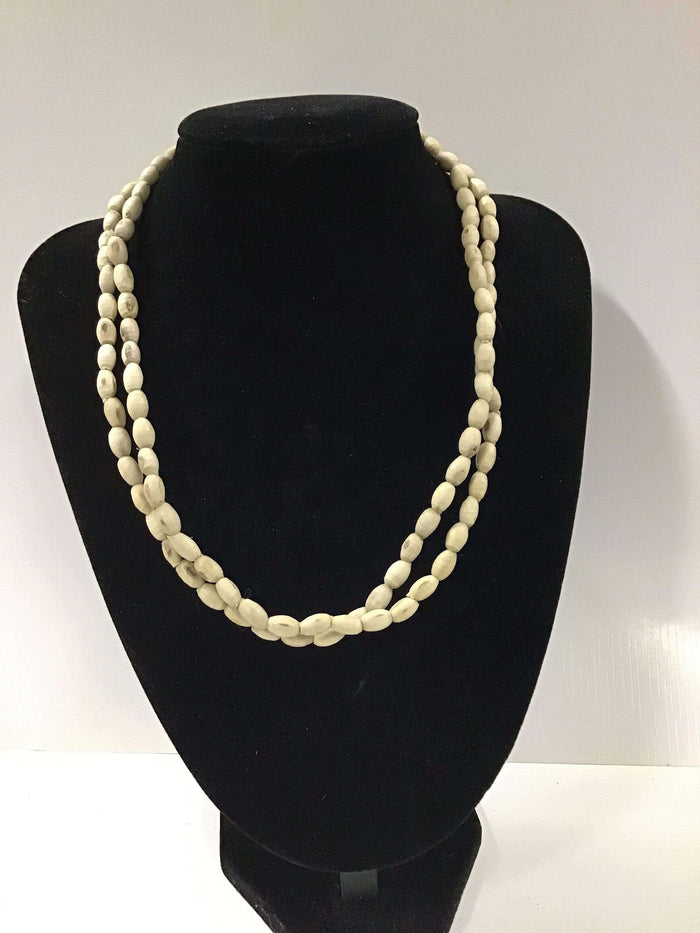 "18""Plain6mm Oval Tulasi Neckbeads - Two Rounds"
