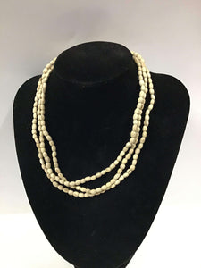 "25""Plain 5mm Oval Tulasi Neckbeads - Three Rounds"