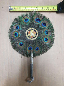 Peacock Feather Fan With Metal Handle