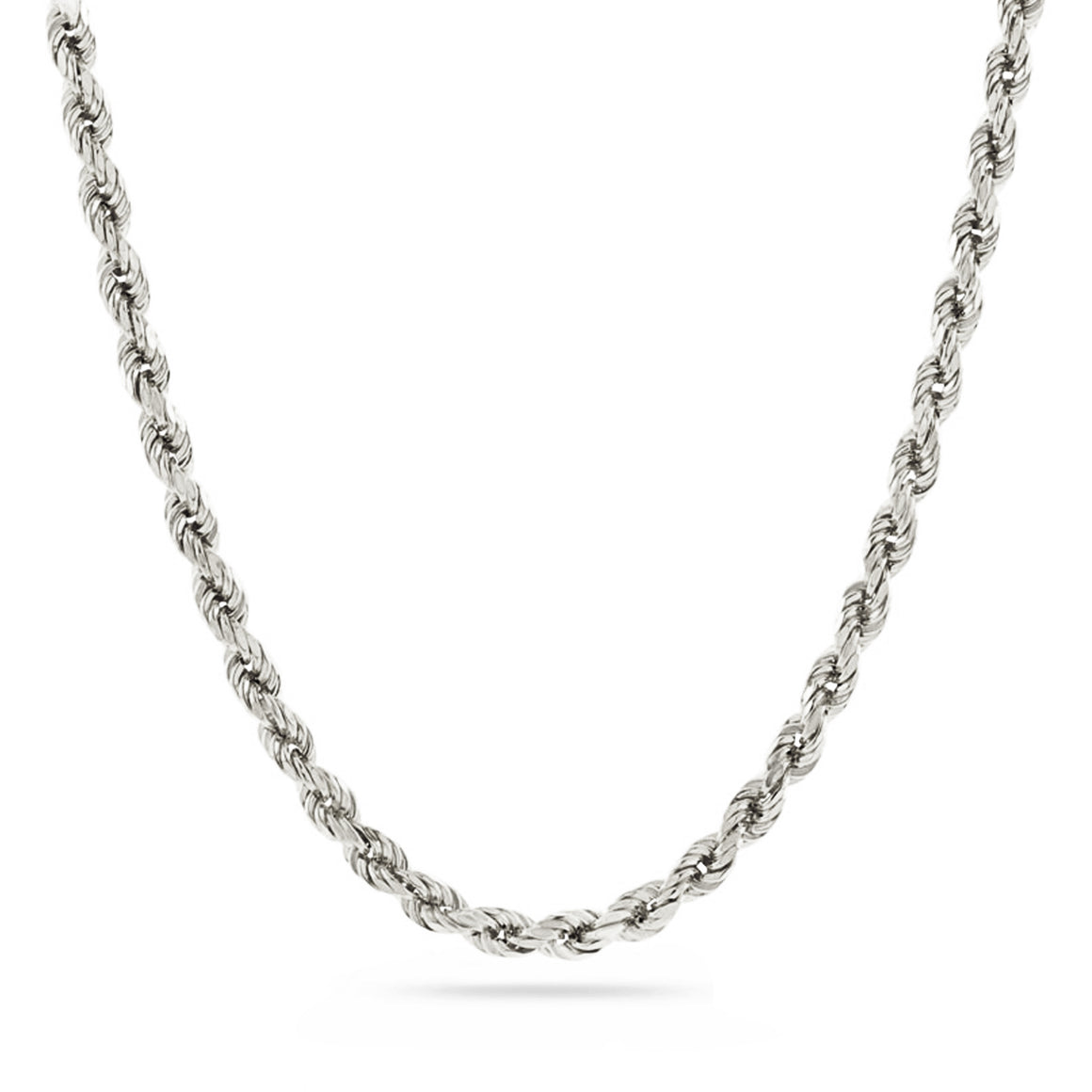 3mm Diamond Cut Rope Chain - 18k White Gold