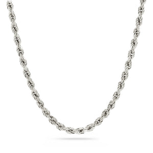 3mm Diamond Cut Rope Chain - 14k White Gold
