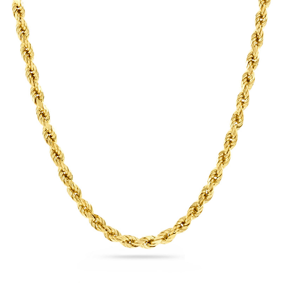 3mm Diamond Cut Rope Chain, Gold