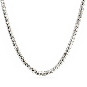 14k 3mm Diamond Cut Franco Chain - White Gold