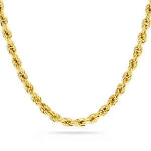 5mm Diamond Cut Rope Chain, Gold