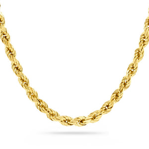 6mm Diamond Cut Rope Chain, Gold