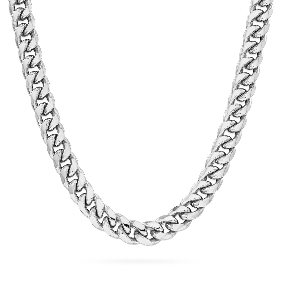 7mm Cuban Link Chain, Silver