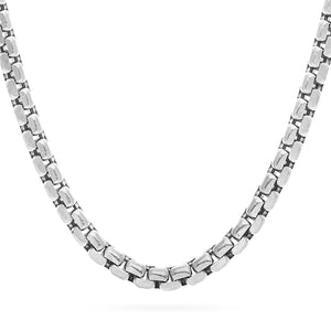 8mm Round Box Chain, Silver