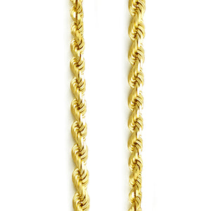 3mm Diamond Cut Rope Chain - 14k Yellow Gold