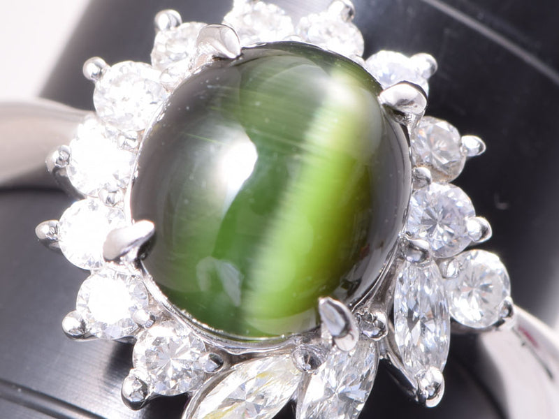 PT900リング トルマリンキャッツアイ3.52ct ダイヤ0.50ct 5.4g #10 指輪 Aランク 美品 中古 銀蔵