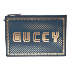 GUCCI グッチ GUCCYプリント グリーン 510489 ユニセックス カーフ クラッチバッグ 新同 中古 銀蔵
