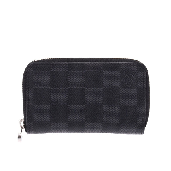 LOUIS VUITTON ルイヴィトン ダミエ グラフィット ジッピーコインパース 黒/グレー N63076 メンズ コインケース Aランク 中古 銀蔵