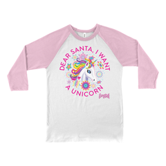 DEAR SANTA, I WANT A UNICORN BASEBALL TEE