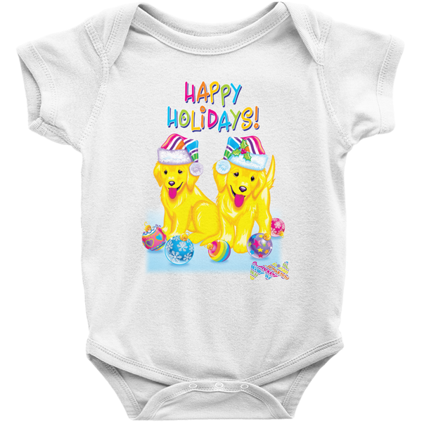 HAPPY HOLIDAYS WITH CASEY & CAYMUS™ BABY ONESIE (WHITE)