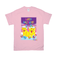 HAPPY HOLIDAYS WITH CASEY & CAYMUS™ TEE (PINK/BLUE)