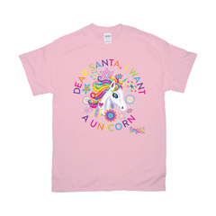 DEAR SANTA, I WANT A UNICORN TEE (RAINBOW)