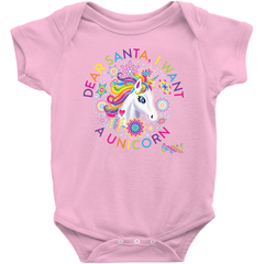 DEAR SANTA, I WANT A UNICORN BABY ONESIE (RAINBOW)