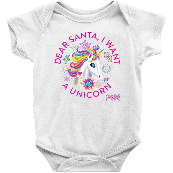 DEAR SANTA, I WANT A UNICORN BABY ONESIE (PINK)