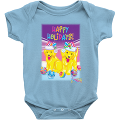 HAPPY HOLIDAYS WITH CASEY & CAYMUS™ BABY ONESIE (PINK/BLUE)