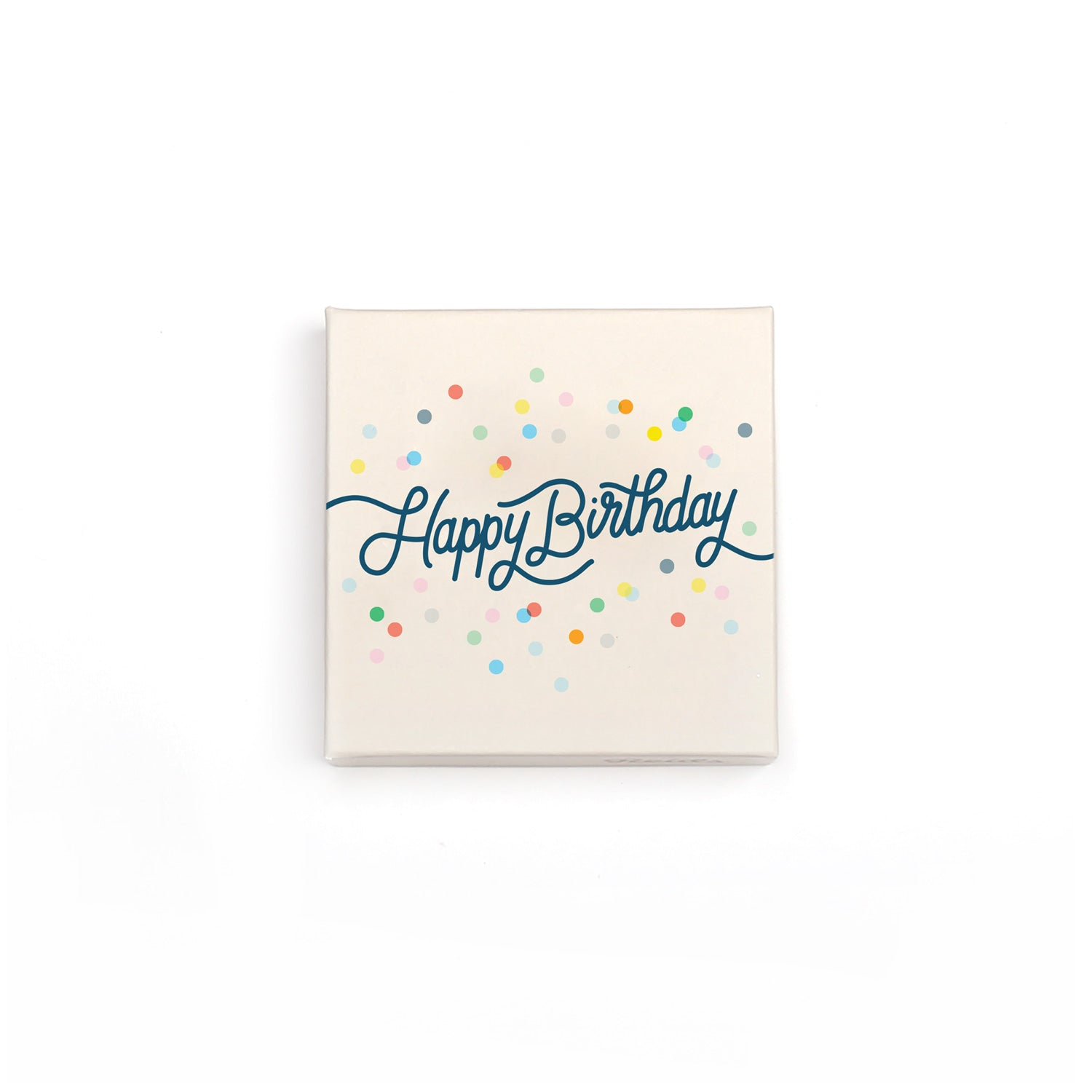 The small happy birthday box comes in a cream box with cursive happy birthday type and decorated with confetti.