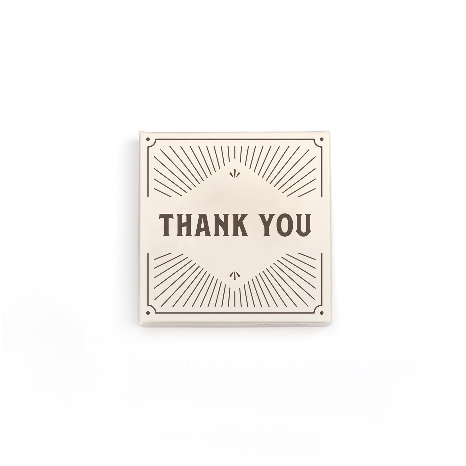 100 g thank you box image. Cream box with brown thank you, and decorative lines