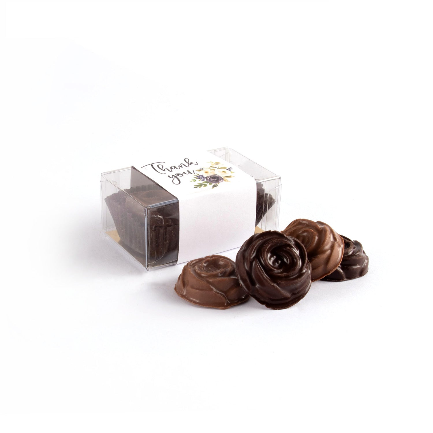Product photo of two chocolate clear box rosebud