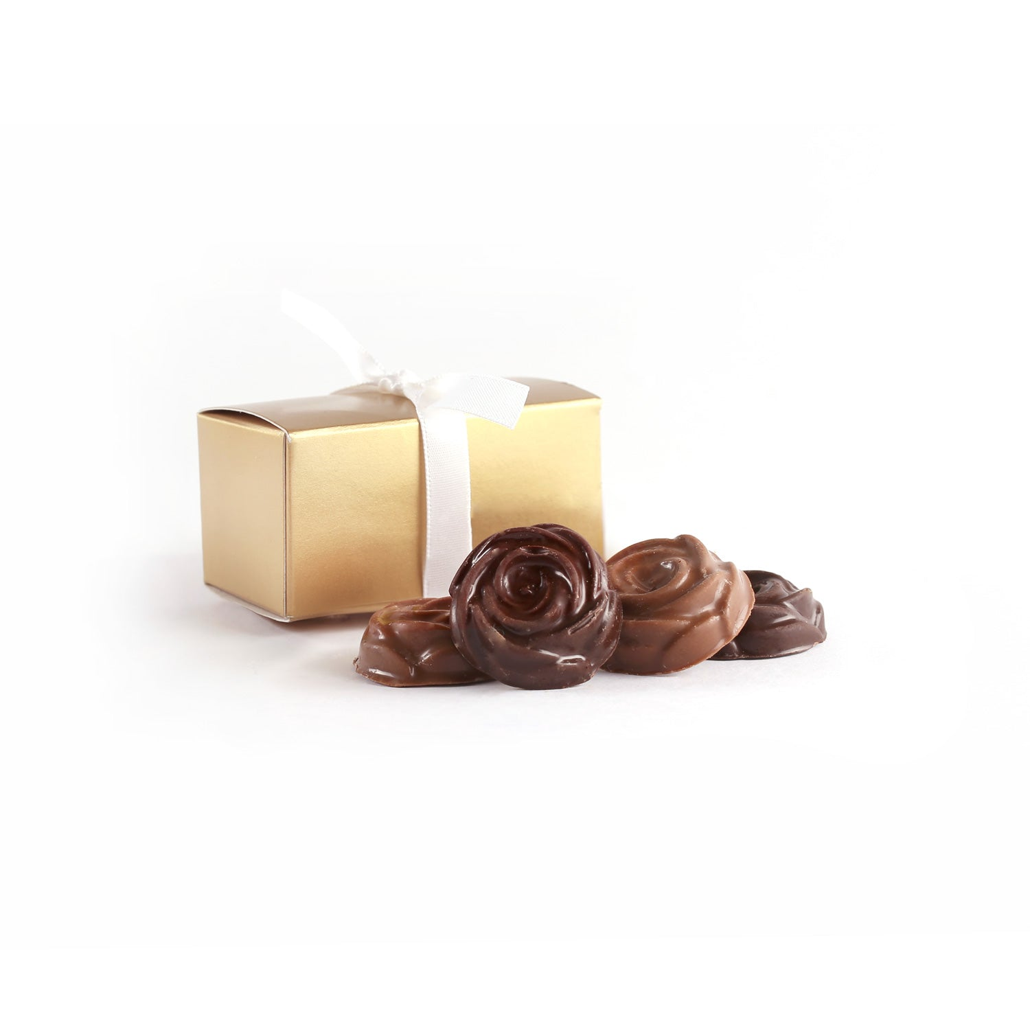 Product photo of two chocolate rosebud box with ribbon