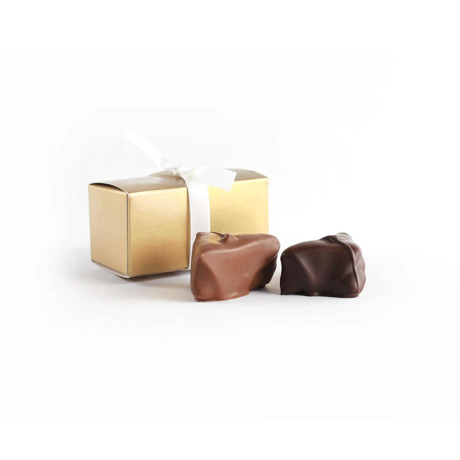 Product photo of two chocolate truffle box with ribbon