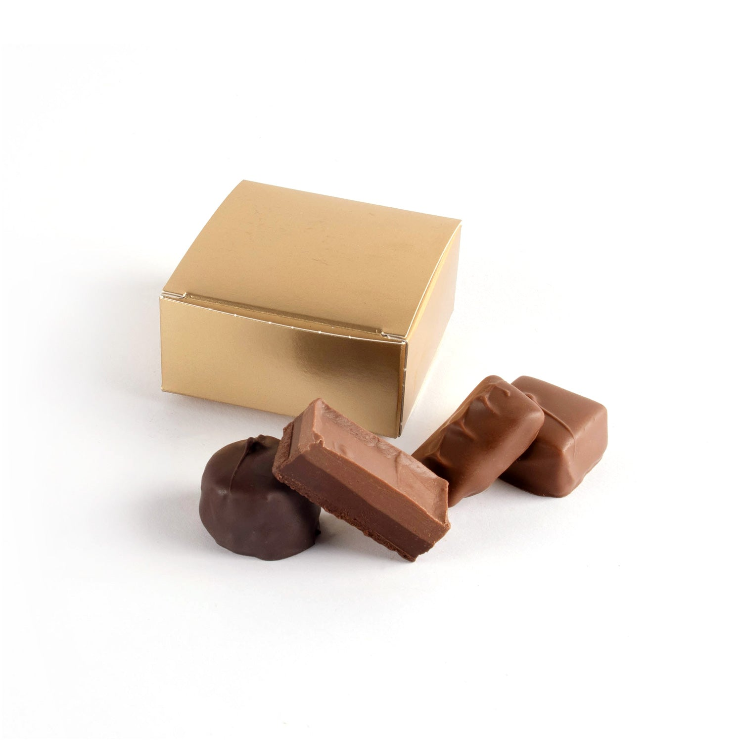 Product photo of square box that fits 4 chocolates
