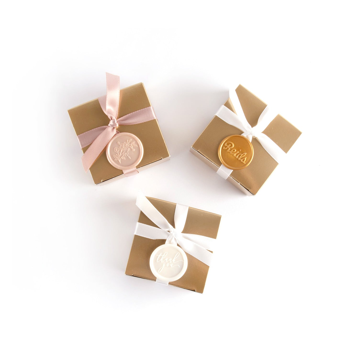 Product photo wax seal options. Pink floral, gold Reids or white thank you
