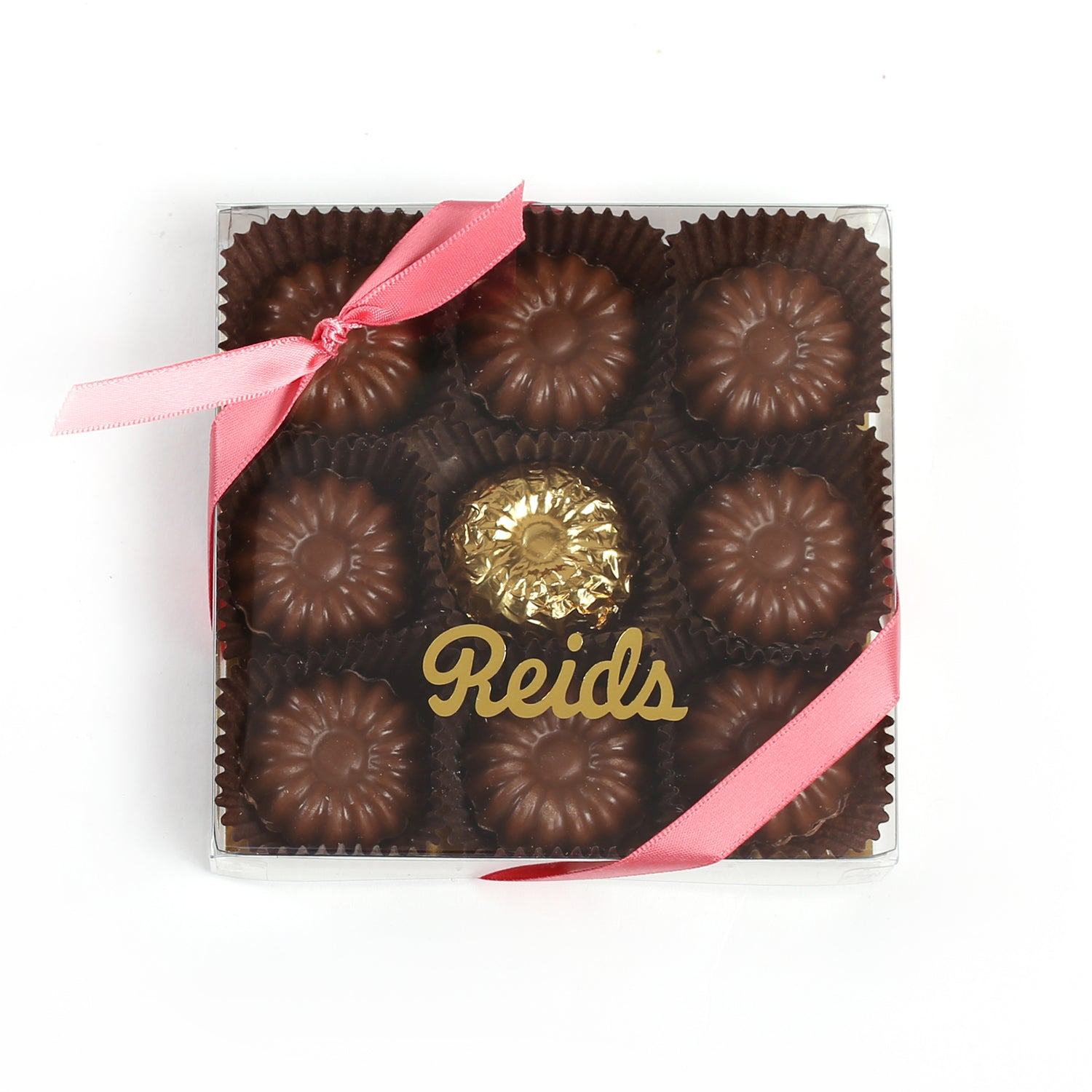 Product photo of flower chocolate bites box with pink ribbon