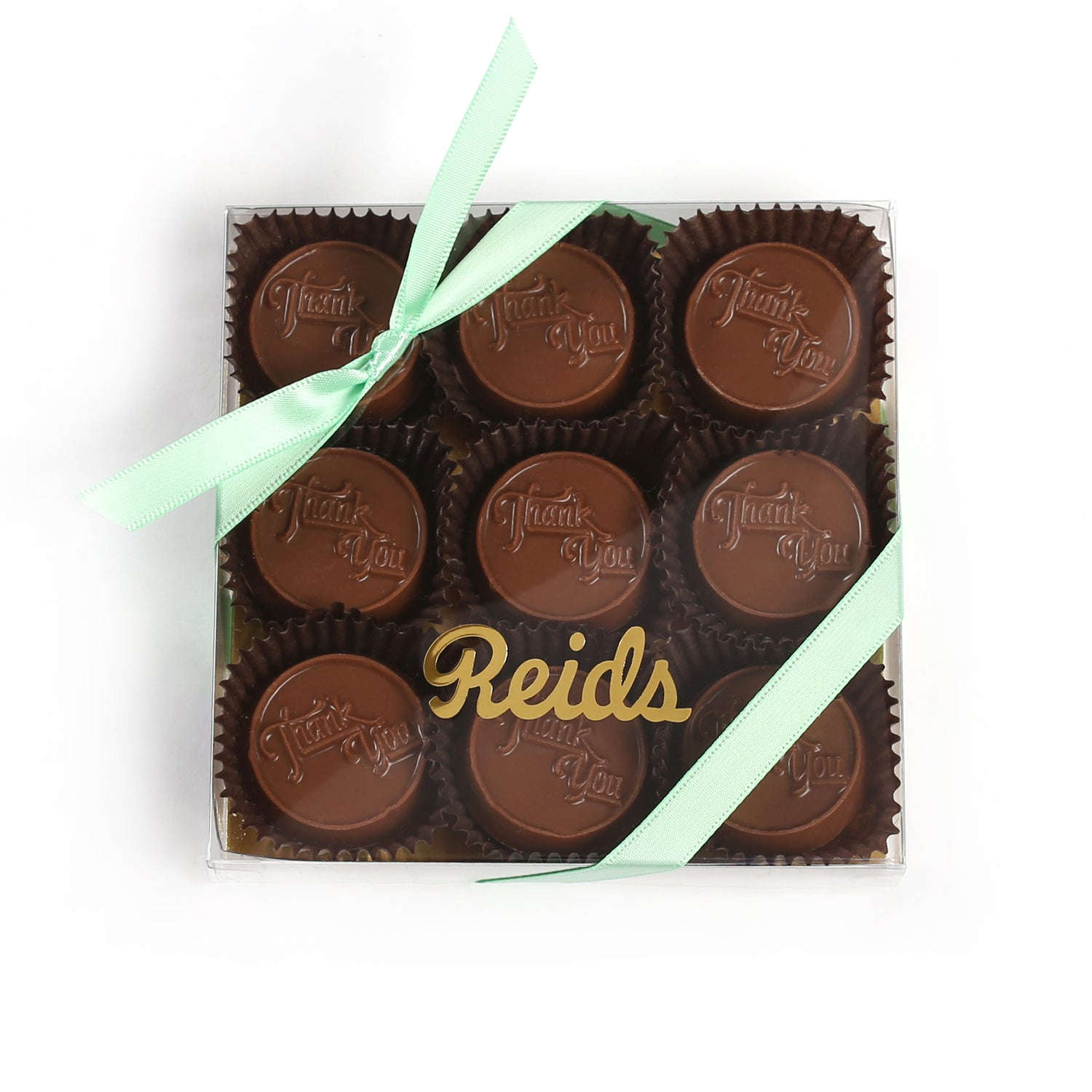 Product photo of thank you chocolate bites box with mint ribbon