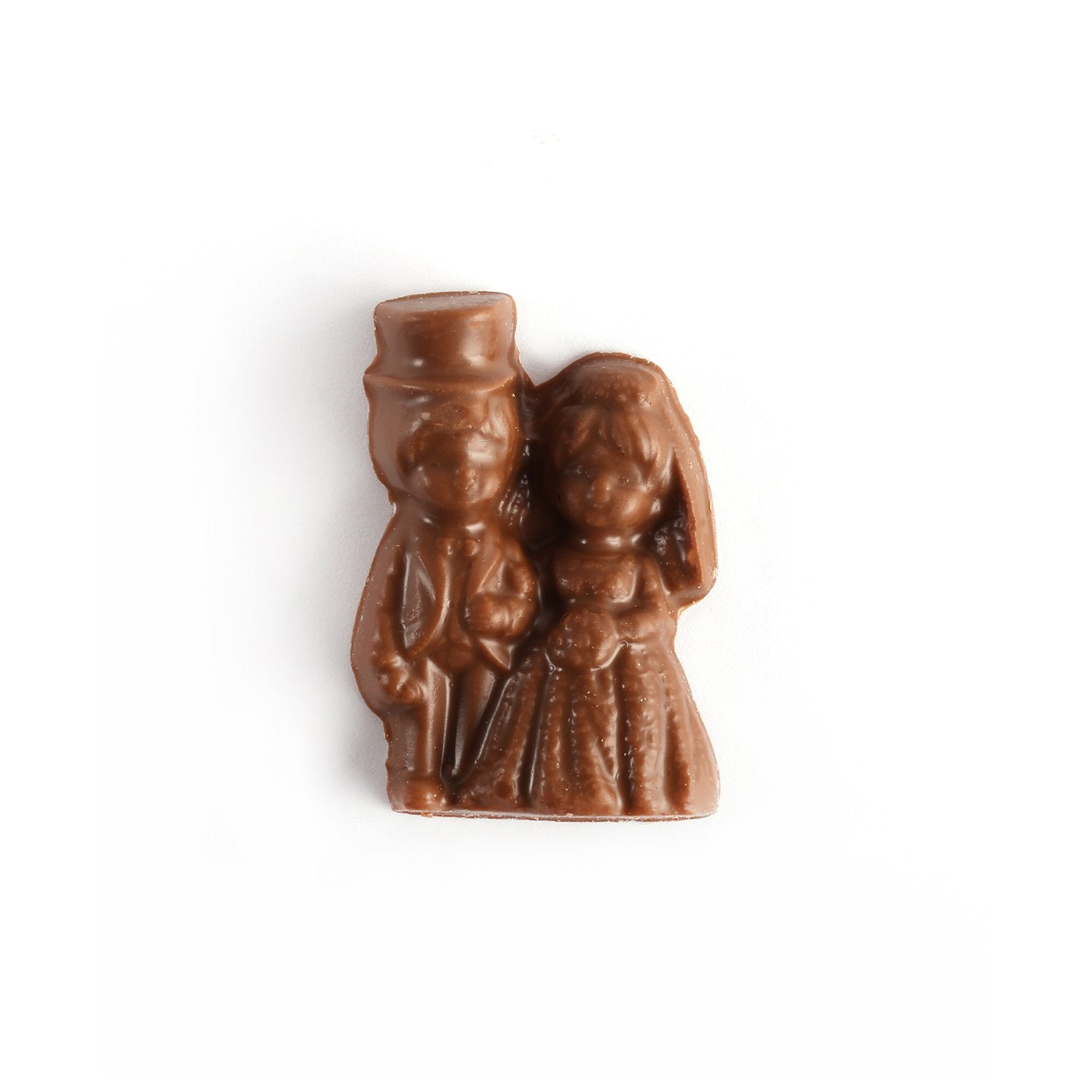 Milk chocolate mold of bride and groom