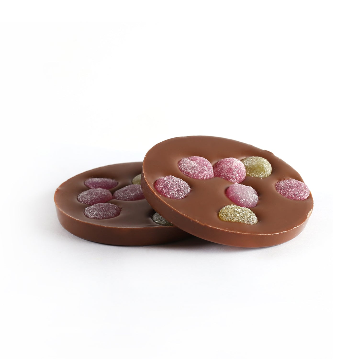 Product photo of 2 milk chocolate disks with gum drop candy
