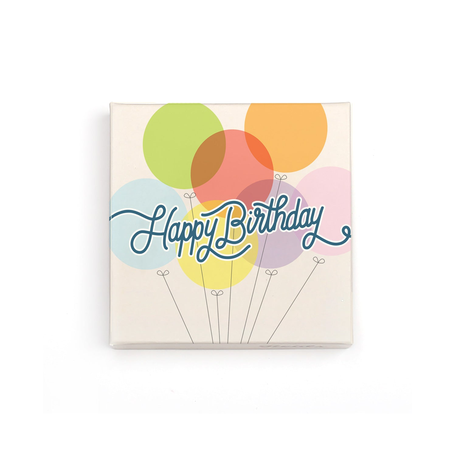 Large happy birthday box with cream background, colourful balloons.