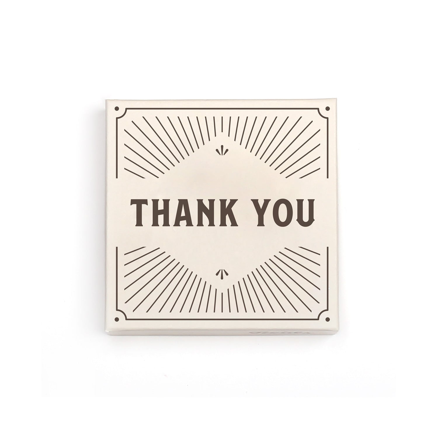 1/2 lb thank you box image. Cream box with brown thank you, and decorative lines