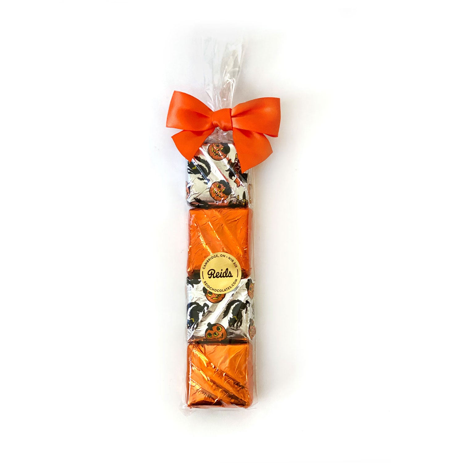 4 mint squares foil wrapped with Halloween colours and tied with a bow!