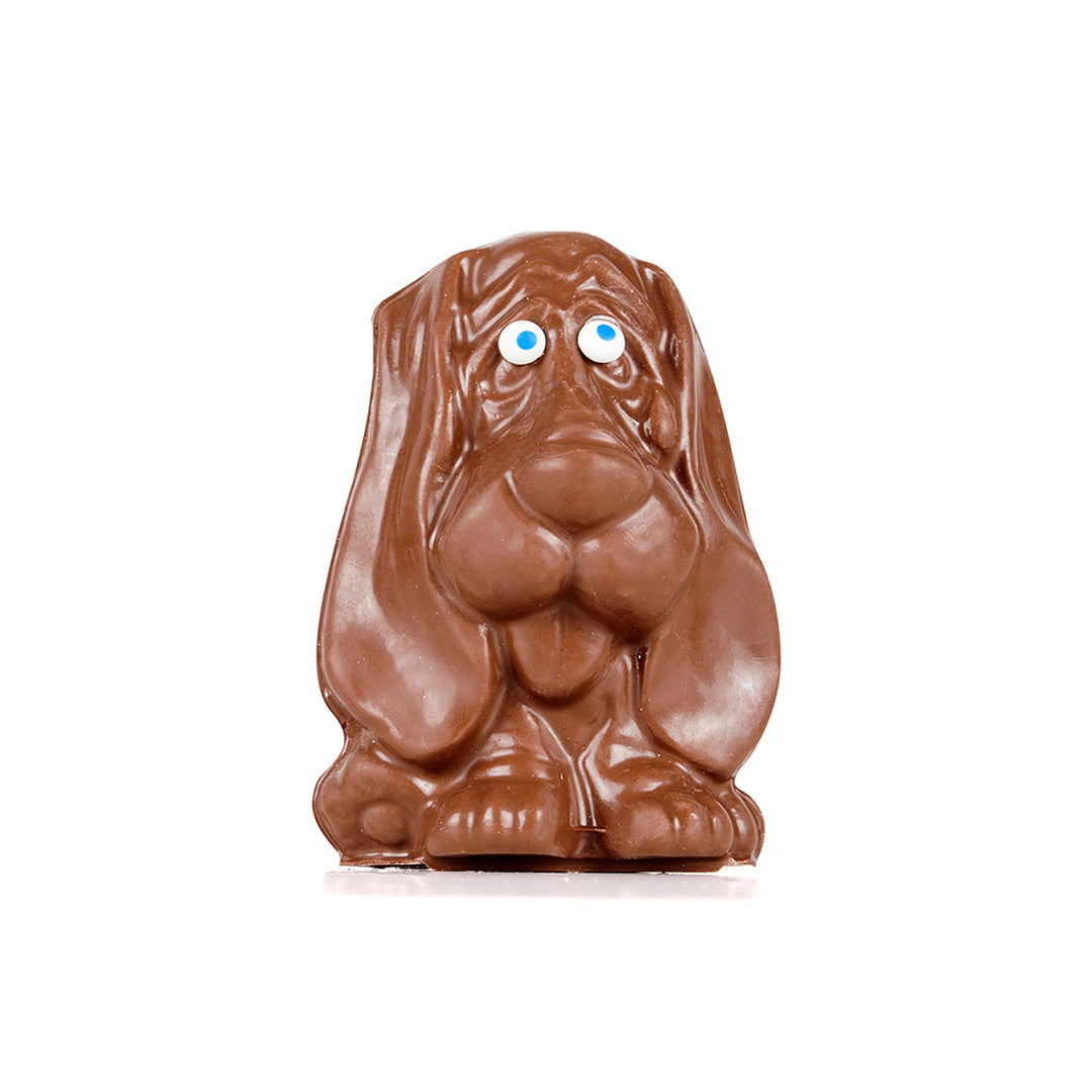 Milk chocolate mold of a long-eared dog sitting.
