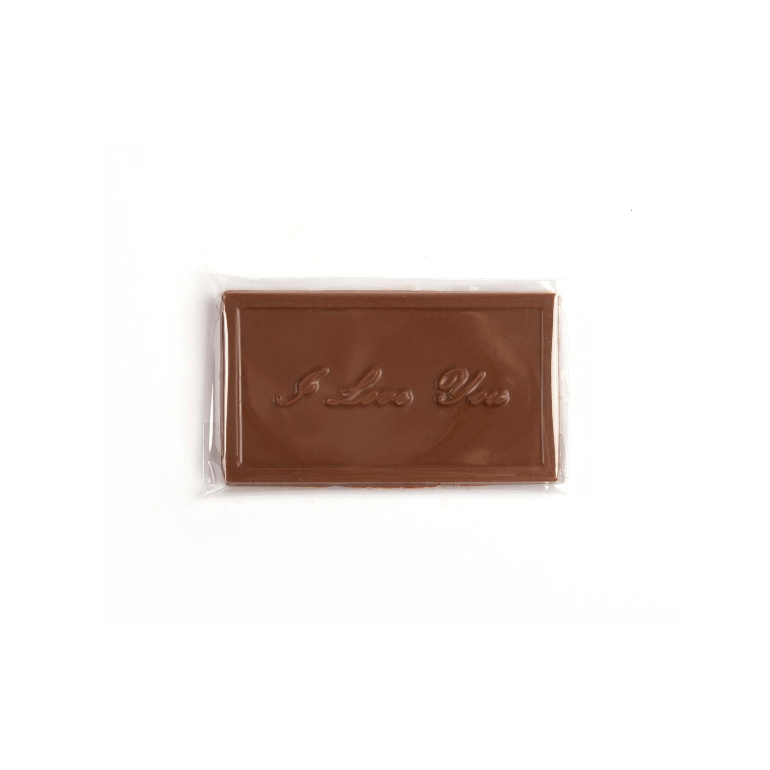 Image of milk chocolate bar with I love you in a script font.