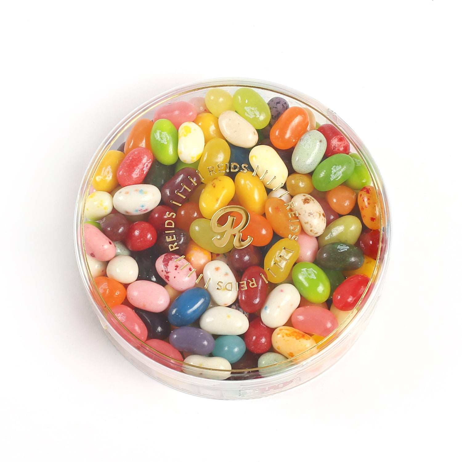 Clear round container with assorted flavoured jelly bellies