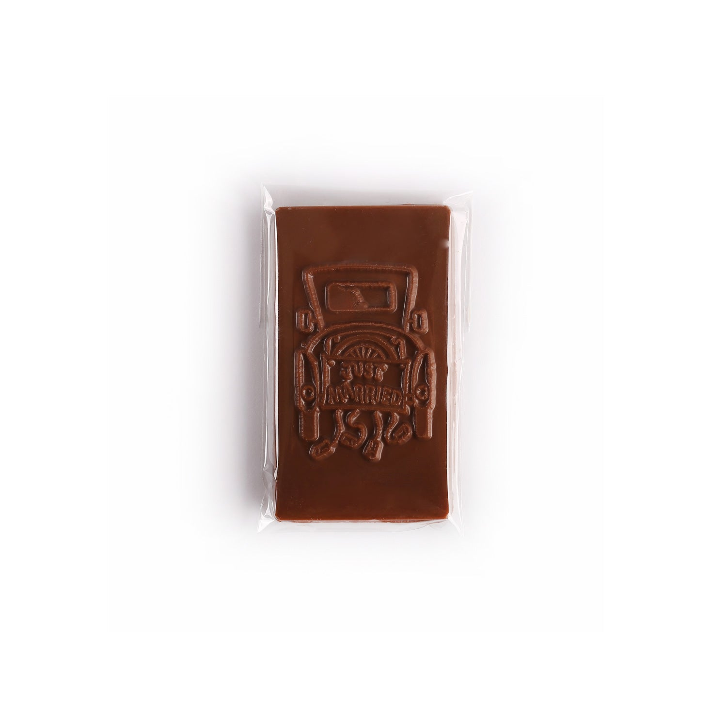 Product photo of just married bar. Chocolate molding is of the back of a car.