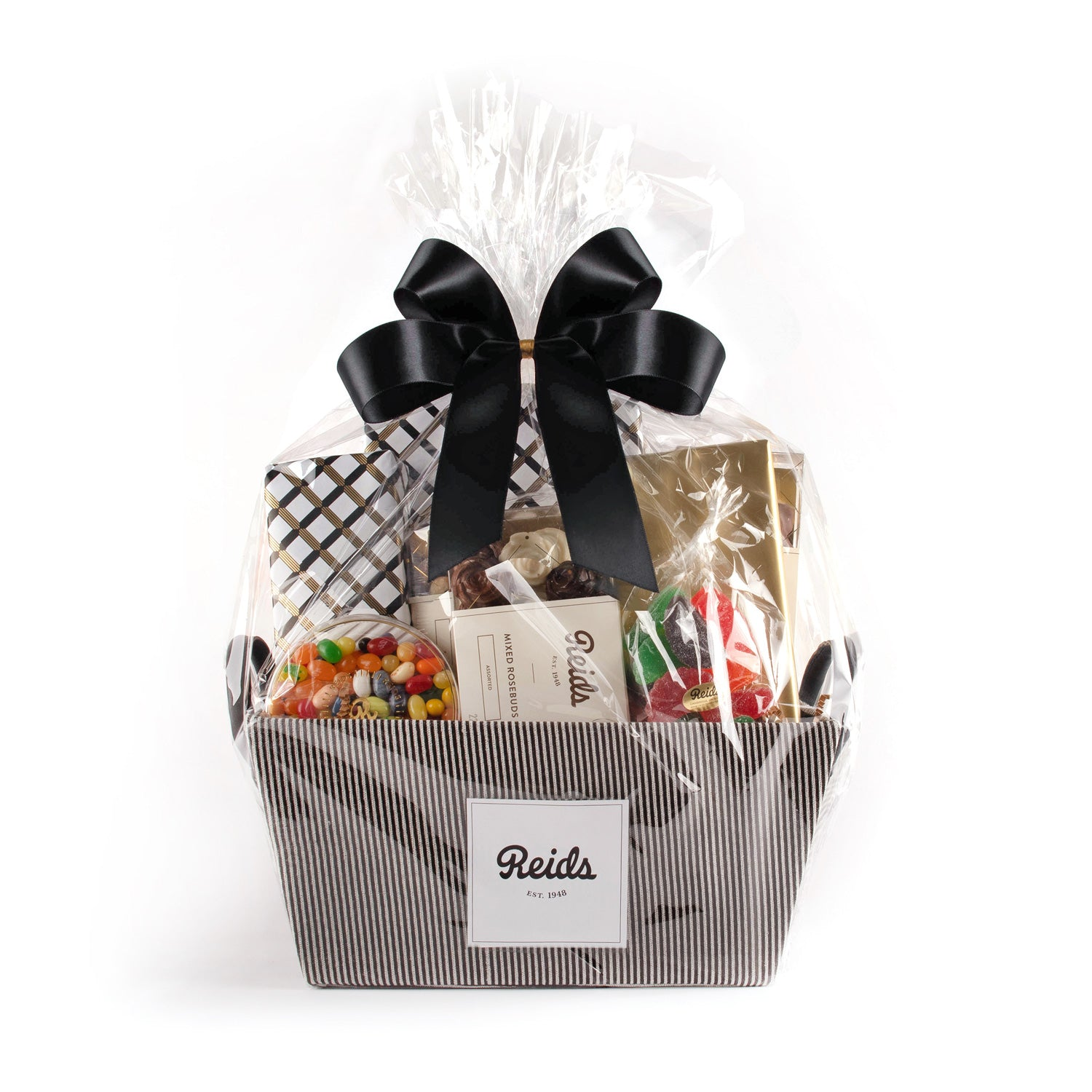 The large basket comes in a black and white pinstriped basket wrapped in cellophane and tied with a black stain bow