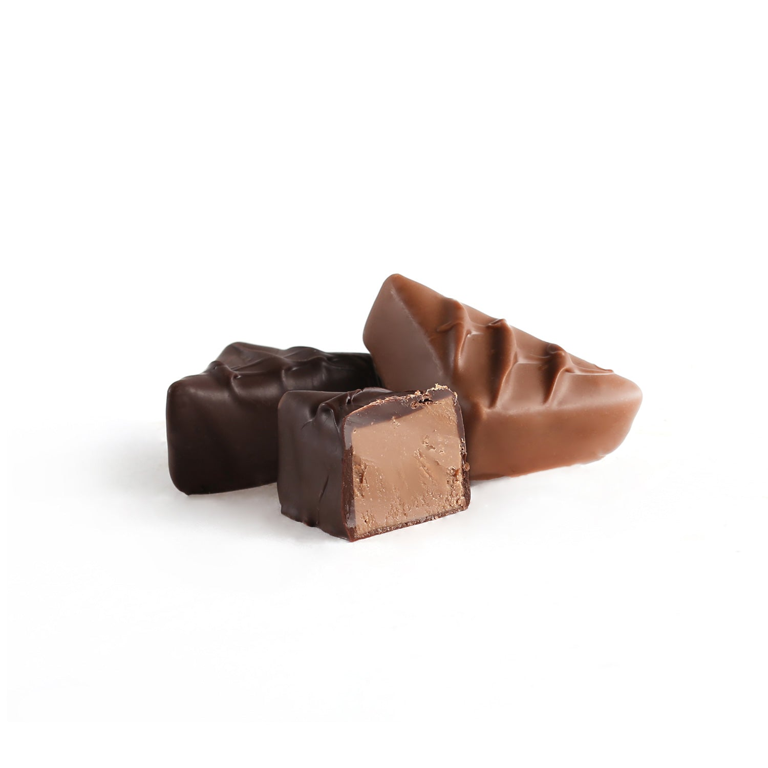 Product photo of milk + dark chocolate mint meltaway