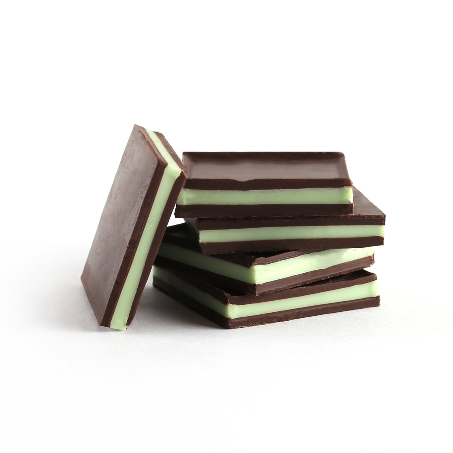 A product photo square dark chocolate mint sandwiches