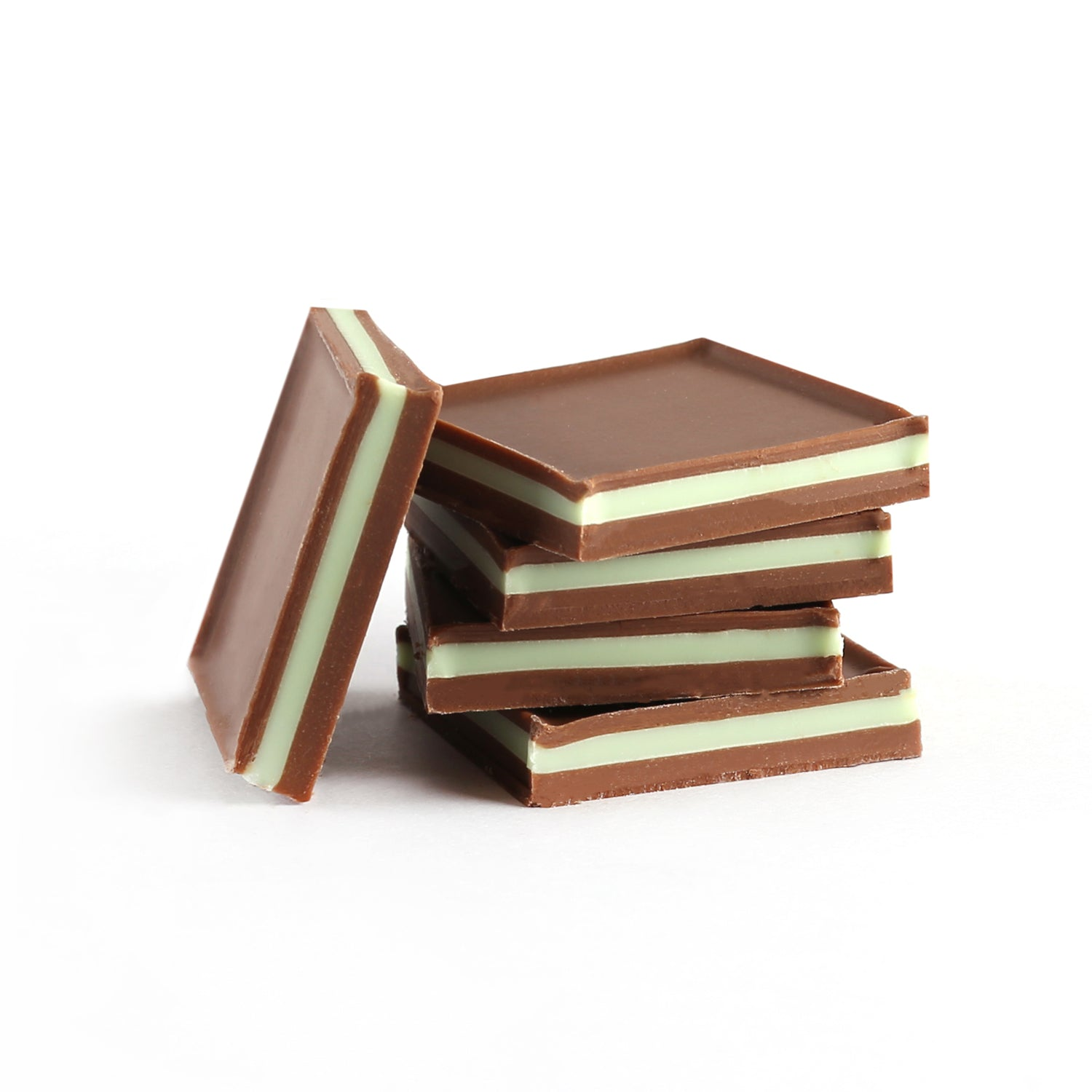 A product photo square milk chocolate mint sandwiches