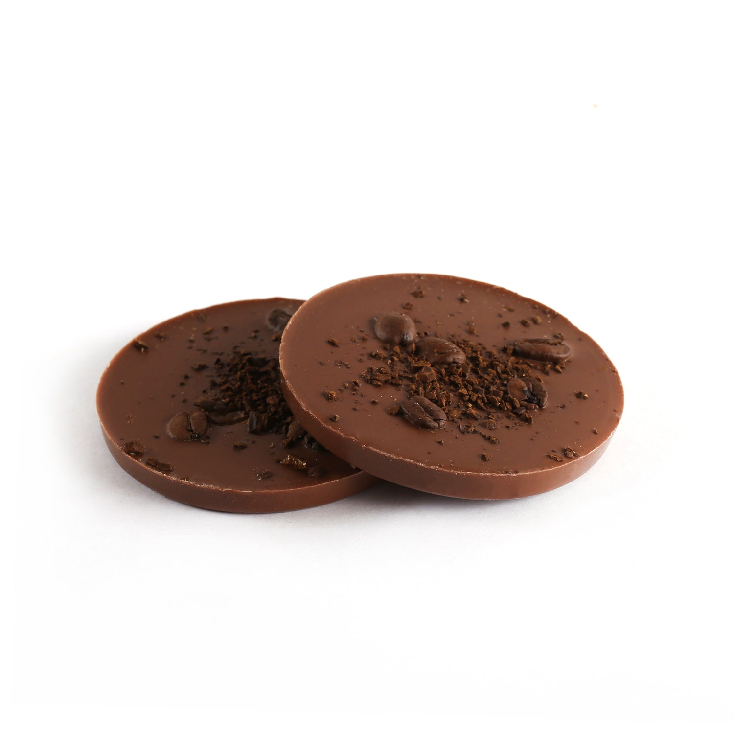 Product photo of dark chocolate mocha delight. Round patty topped with whole coffee beans