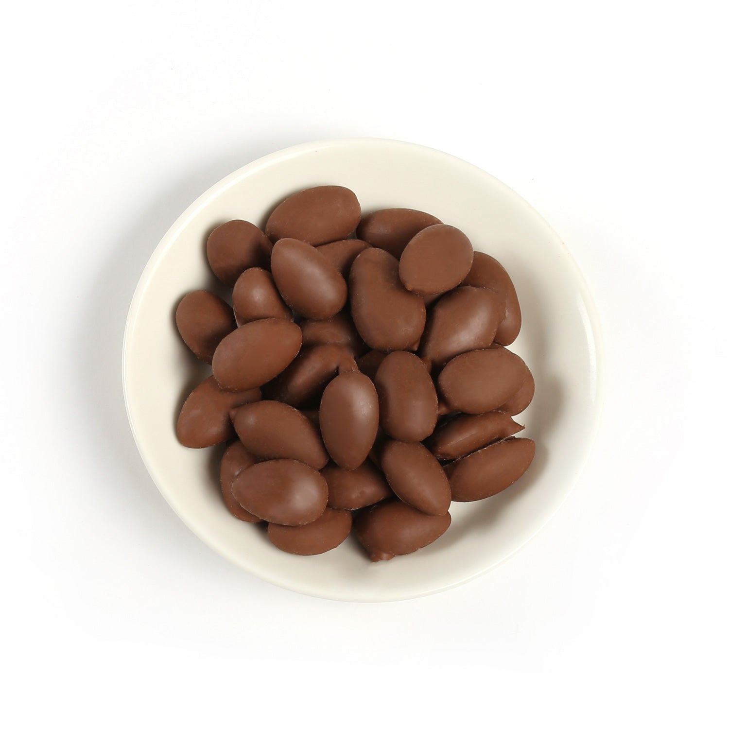 Product photo of milk chocolate covered almonds