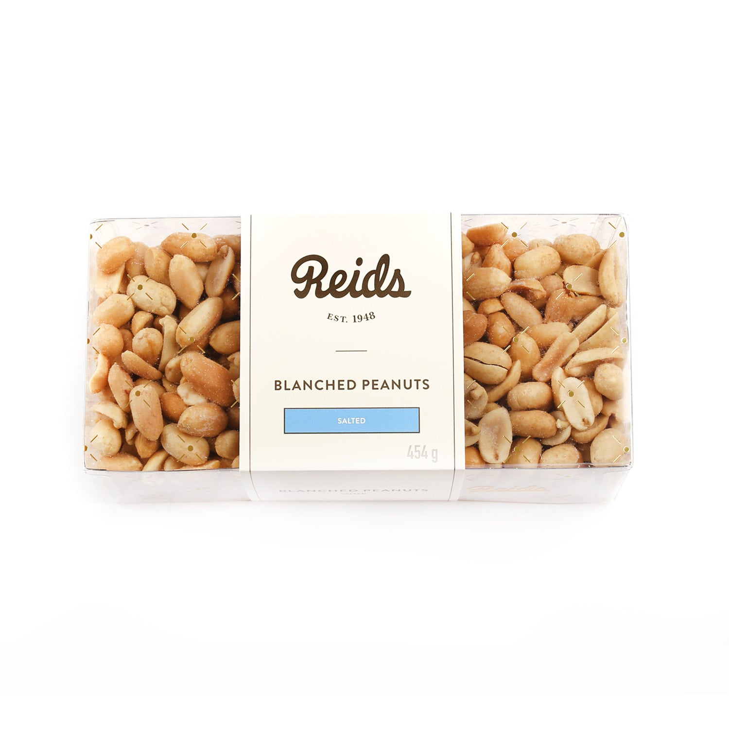 1 lb clear box of blanched peanuts.